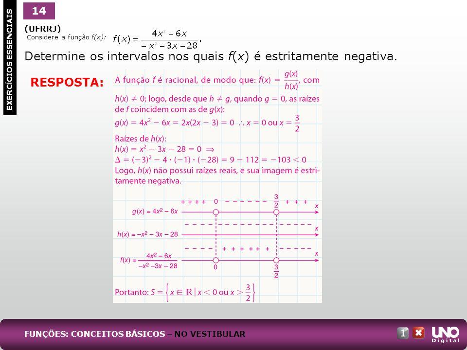 Determine os intervalos nos quais f(x) é estritamente negativa.