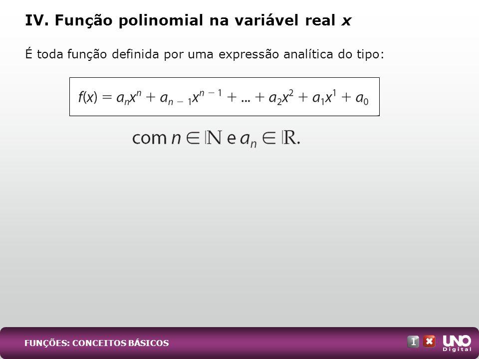 IV. Função polinomial na variável real x