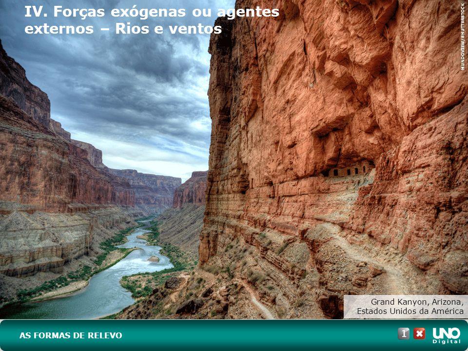 IV. Forças exógenas ou agentes externos – Rios e ventos