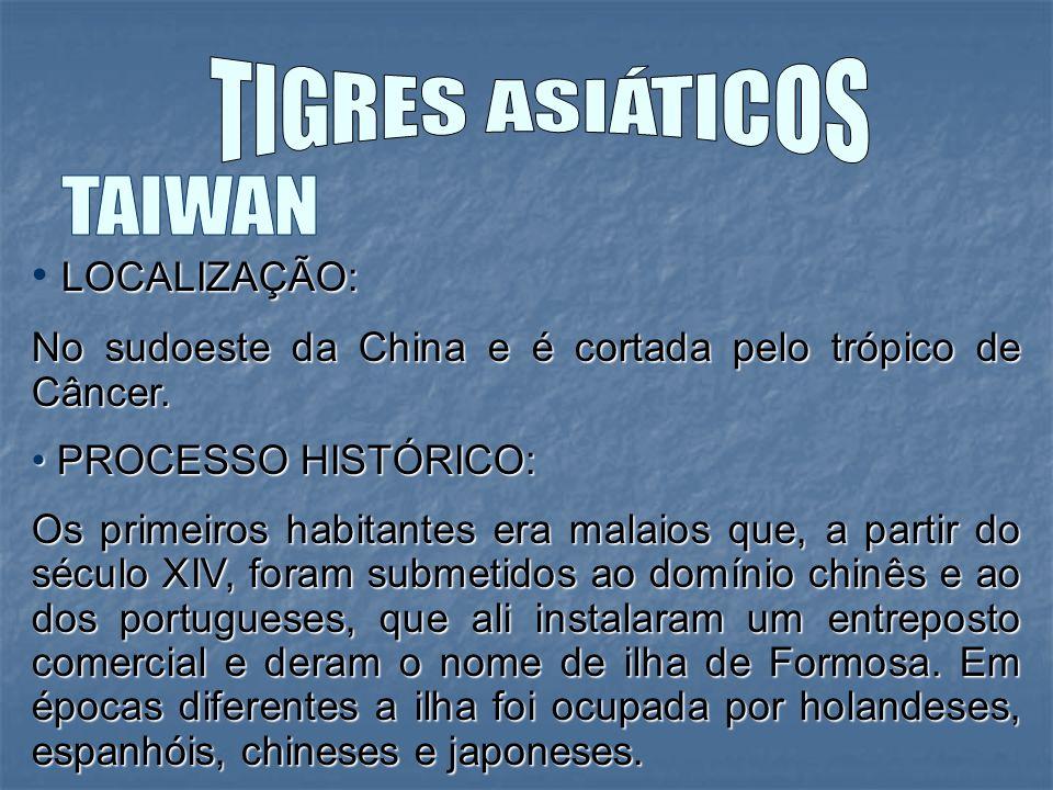 TIGRES ASIÁTICOS TAIWAN LOCALIZAÇÃO: