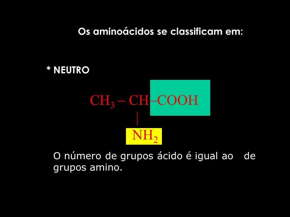CH3  CHCOOH  NH2 Os aminoácidos se classificam em: * NEUTRO