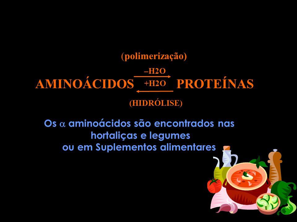 Os  aminoácidos são encontrados nas ou em Suplementos alimentares