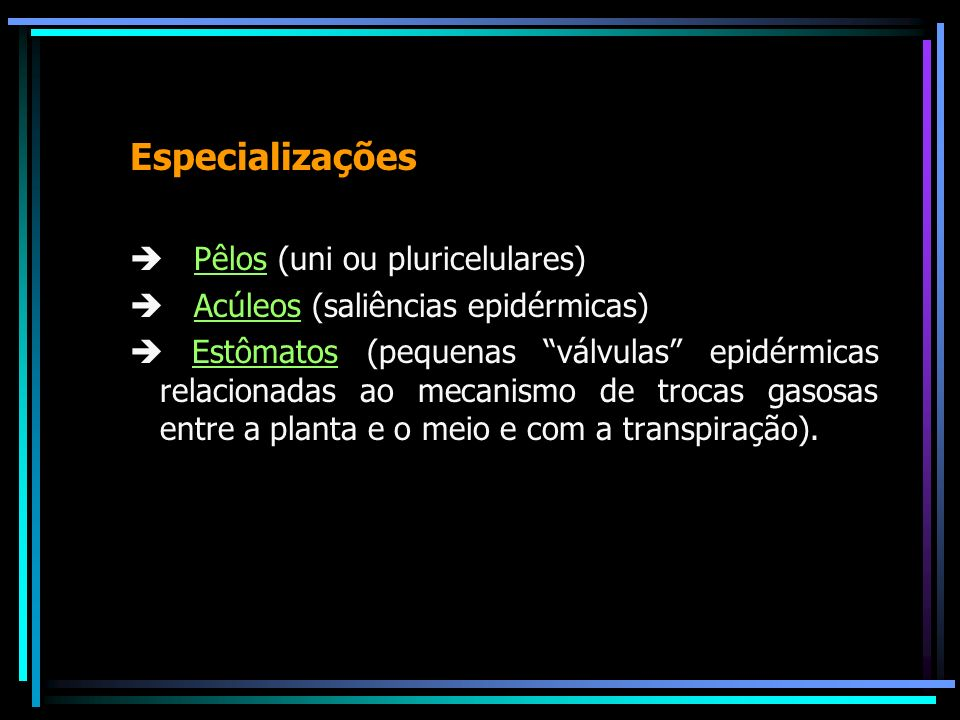 Especializações  Pêlos (uni ou pluricelulares)
