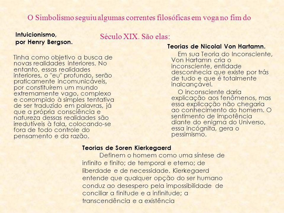 O Simbolismo seguiu algumas correntes filosóficas em voga no fim do Século XIX. São elas: