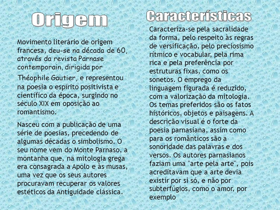 Características Origem