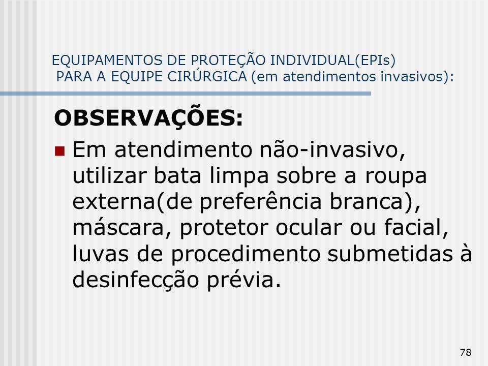 EQUIPAMENTOS DE PROTEÇÃO INDIVIDUAL(EPIs) PARA A EQUIPE CIRÚRGICA (em atendimentos invasivos):