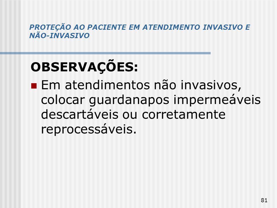PROTEÇÃO AO PACIENTE EM ATENDIMENTO INVASIVO E NÃO-INVASIVO