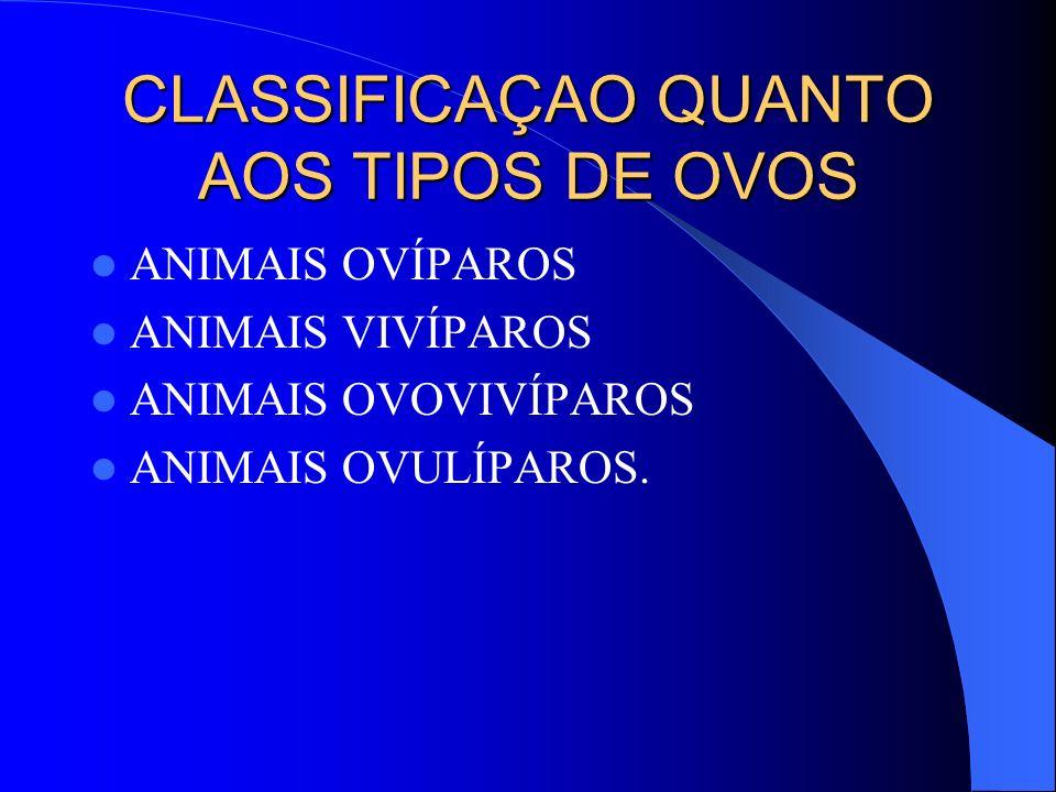 CLASSIFICAÇAO QUANTO AOS TIPOS DE OVOS