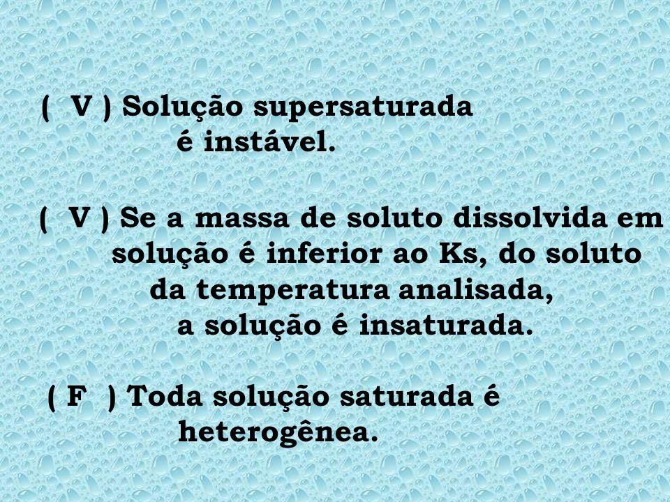 ( V ) Solução supersaturada é instável.