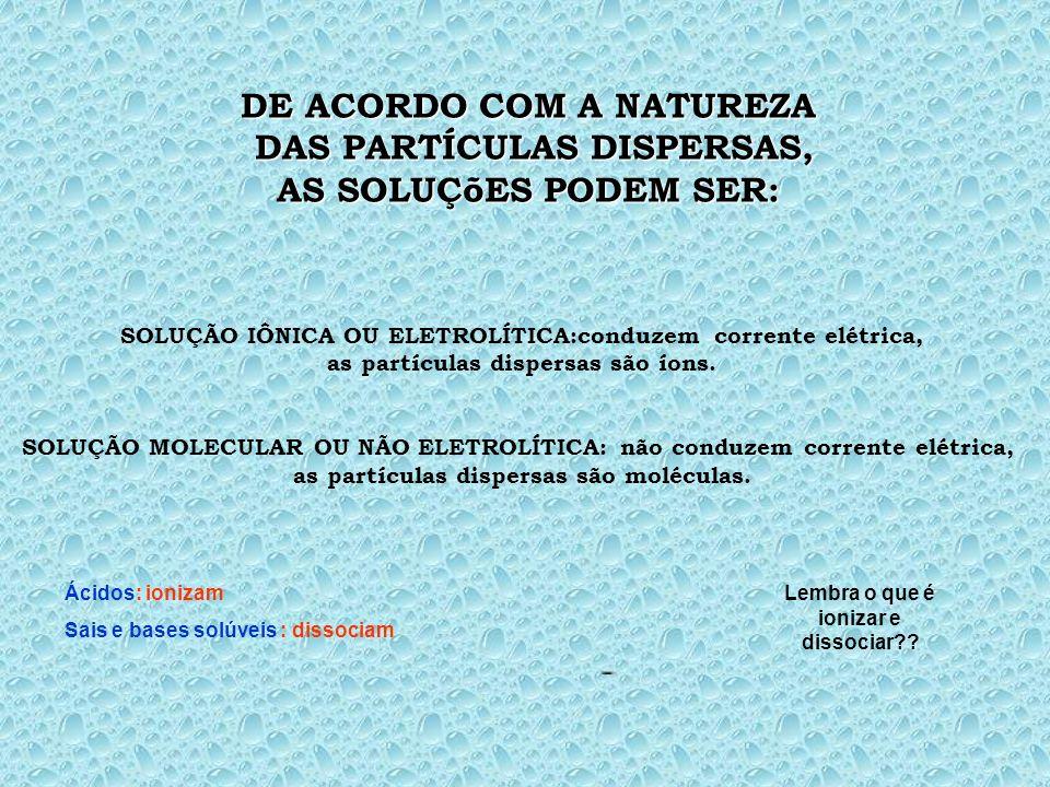 DE ACORDO COM A NATUREZA DAS PARTÍCULAS DISPERSAS,
