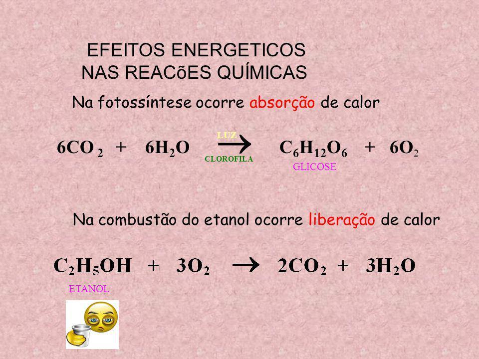 EFEITOS ENERGETICOS NAS REACõES QUÍMICAS 6CO 2 + 6H2O  C6H12O6 + 6O2
