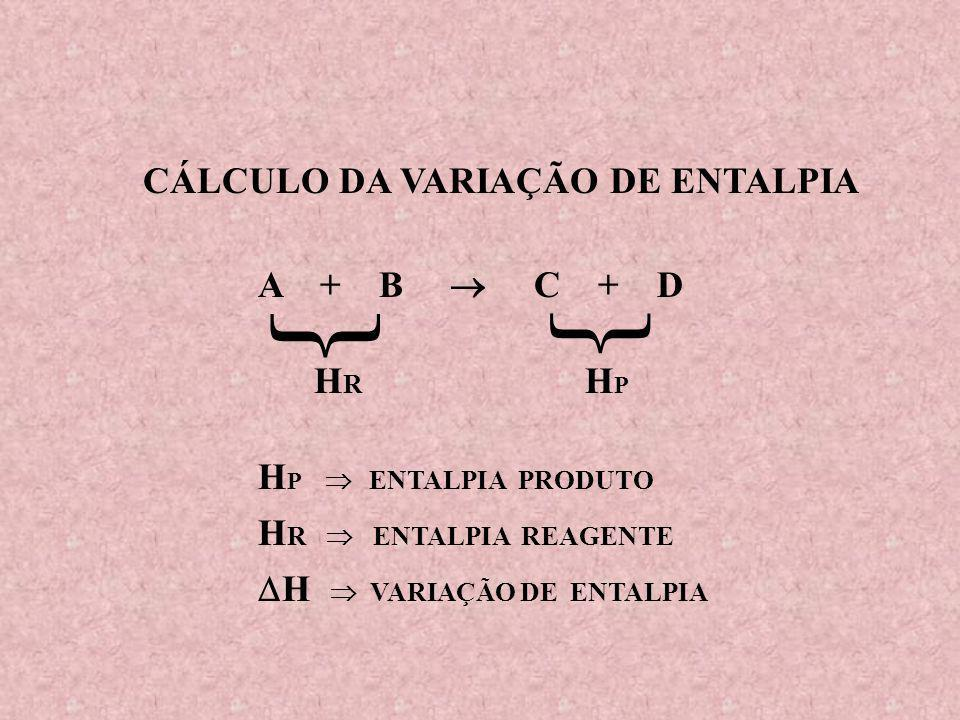 CÁLCULO DA VARIAÇÃO DE ENTALPIA