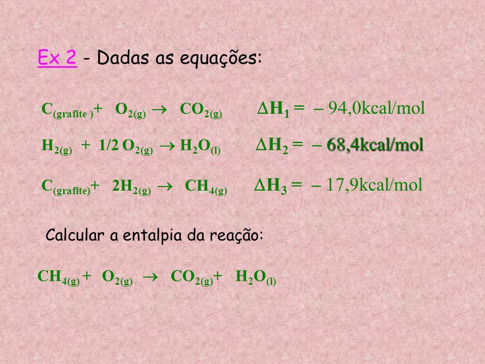 Ex 2 - Dadas as equações:C(grafite )+ O2(g)  CO2(g) H1 = – 94,0kcal/mol.