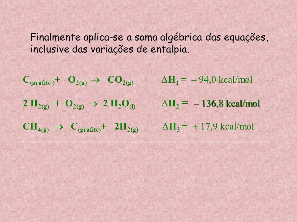 Finalmente aplica-se a soma algébrica das equações,