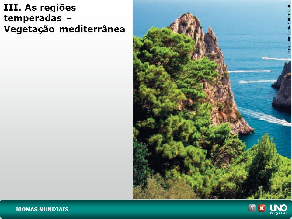 III. As regiões temperadas – Vegetação mediterrânea