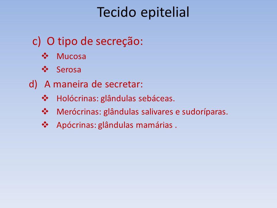 Tecido epitelial c) O tipo de secreção: A maneira de secretar: Mucosa
