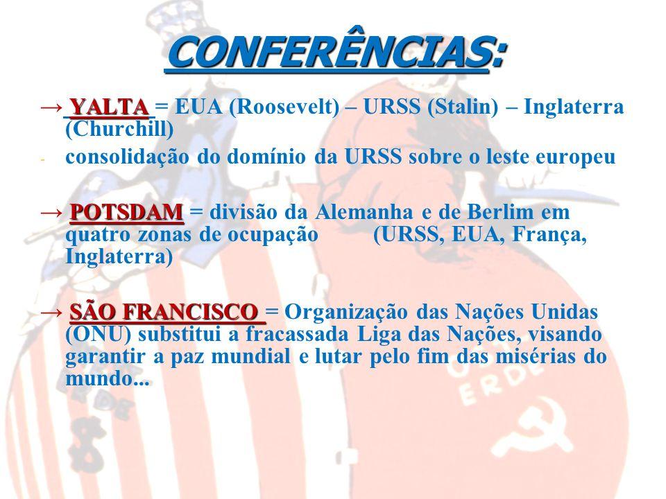 CONFERÊNCIAS:→ YALTA = EUA (Roosevelt) – URSS (Stalin) – Inglaterra (Churchill) consolidação do domínio da URSS sobre o leste europeu.