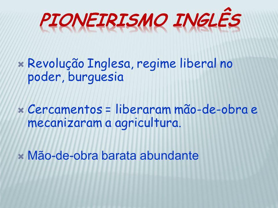 Pioneirismo InglêsRevolução Inglesa, regime liberal no poder, burguesia. Cercamentos = liberaram mão-de-obra e mecanizaram a agricultura.