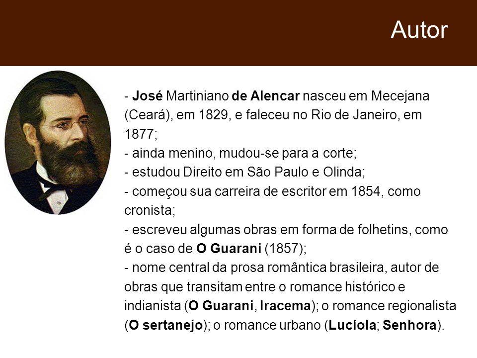 Autor- José Martiniano de Alencar nasceu em Mecejana (Ceará), em 1829, e faleceu no Rio de Janeiro, em 1877;
