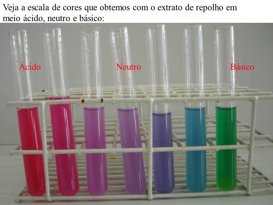Veja a escala de cores que obtemos com o extrato de repolho em meio ácido, neutro e básico: