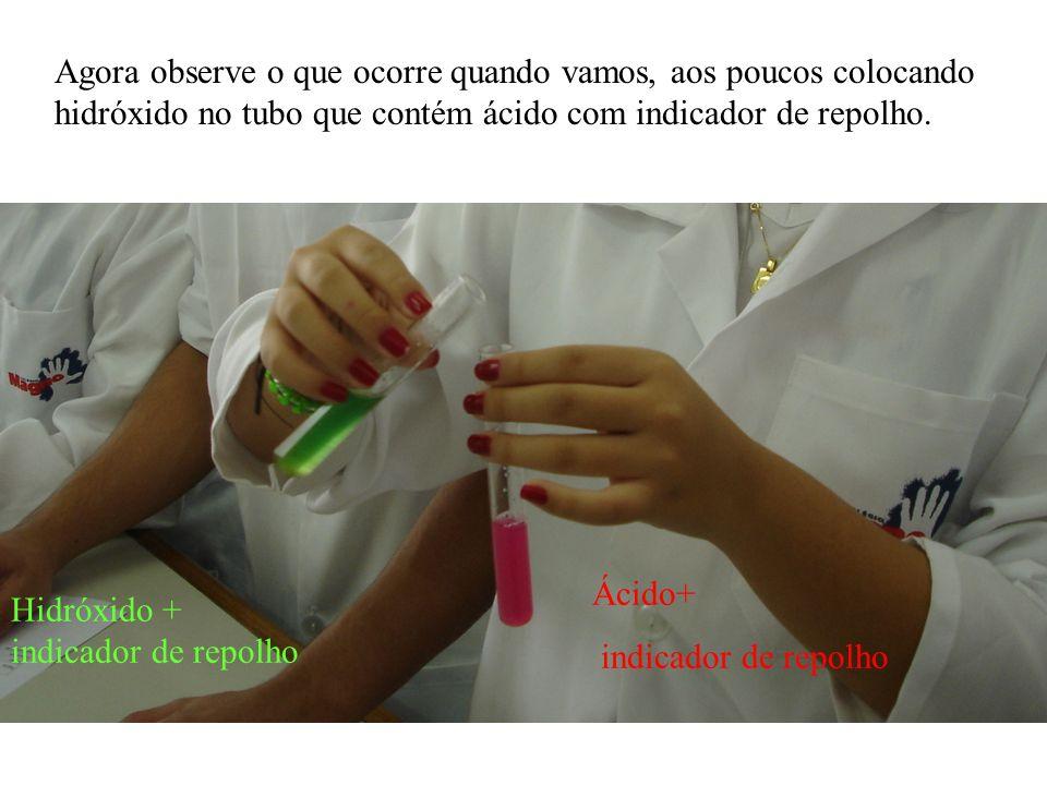 Agora observe o que ocorre quando vamos, aos poucos colocando hidróxido no tubo que contém ácido com indicador de repolho.