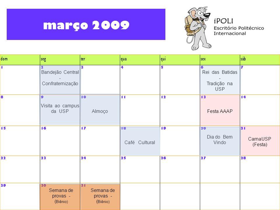 março 2009 dom seg ter qua qui sex sáb Bandejão Central -