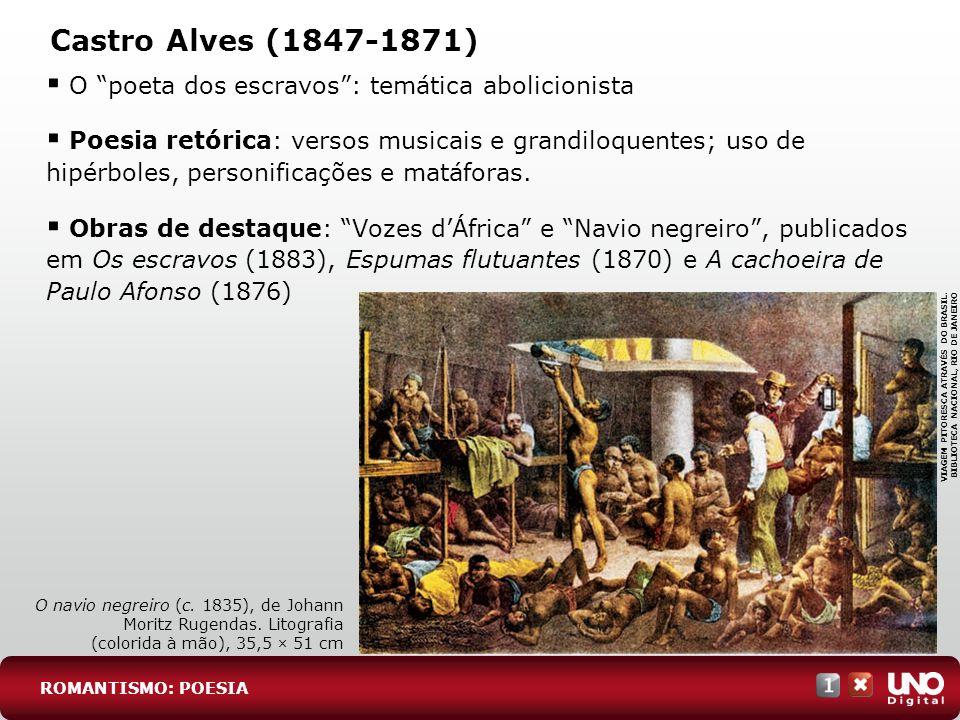 Castro Alves (1847-1871) O poeta dos escravos : temática abolicionista.