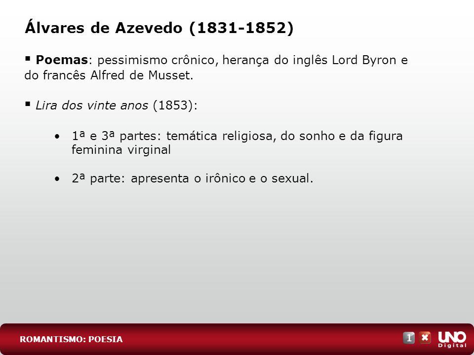 Álvares de Azevedo (1831-1852)Poemas: pessimismo crônico, herança do inglês Lord Byron e do francês Alfred de Musset.