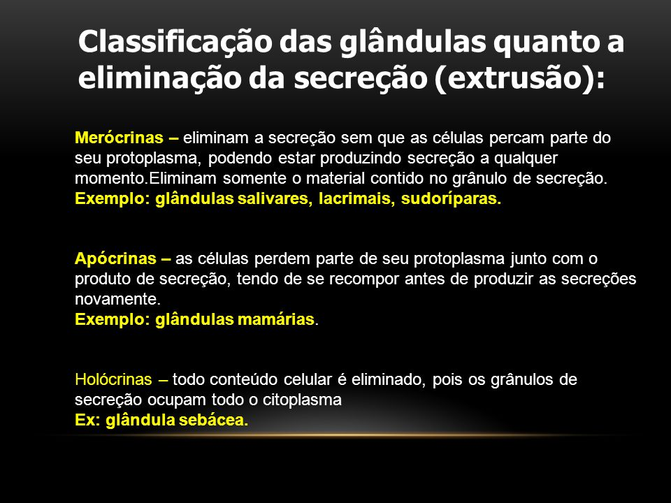Classificação das glândulas quanto a eliminação da secreção (extrusão):