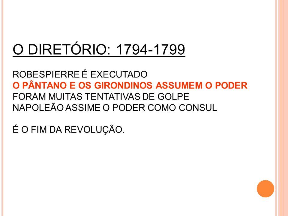 O DIRETÓRIO: 1794-1799 ROBESPIERRE É EXECUTADO O PÂNTANO E OS GIRONDINOS ASSUMEM O PODER FORAM MUITAS TENTATIVAS DE GOLPE NAPOLEÃO ASSIME O PODER COMO CONSUL É O FIM DA REVOLUÇÃO.