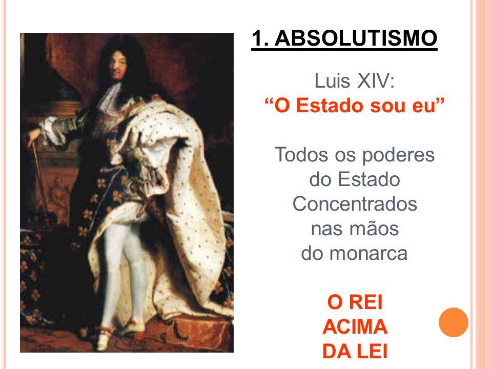 1. ABSOLUTISMO Luis XIV: O Estado sou eu Todos os poderes do Estado