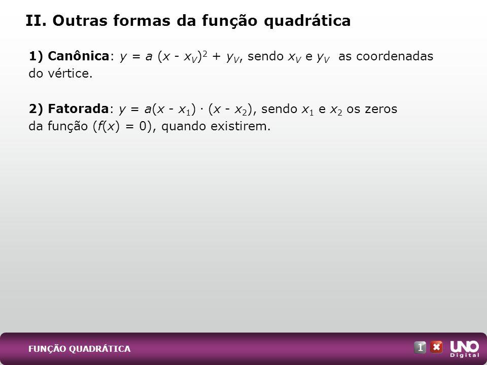 II. Outras formas da função quadrática