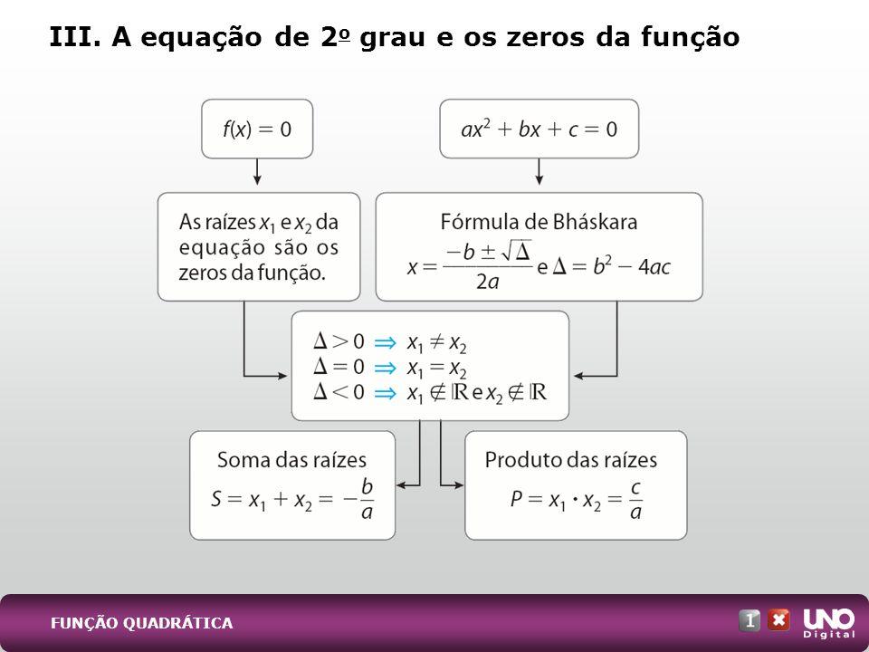 III. A equação de 2o grau e os zeros da função