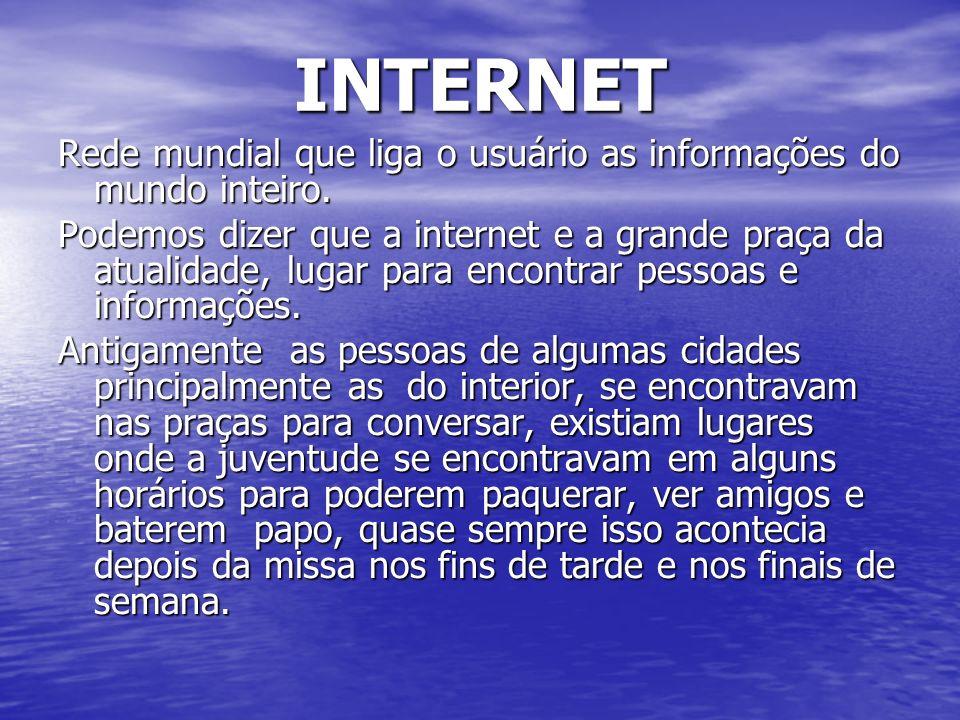 INTERNETRede mundial que liga o usuário as informações do mundo inteiro.