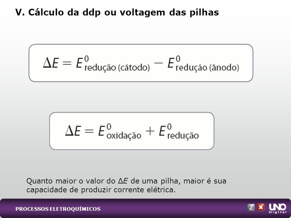 V. Cálculo da ddp ou voltagem das pilhas