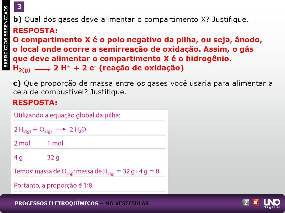 b) Qual dos gases deve alimentar o compartimento X Justifique.