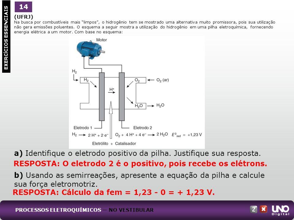a) Identifique o eletrodo positivo da pilha. Justifique sua resposta.
