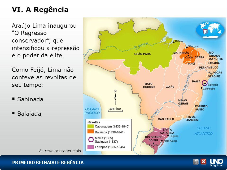 His-cad-1-top-9 – 3 Prova VI. A Regência. Araújo Lima inaugurou O Regresso conservador , que intensificou a repressão e o poder da elite.