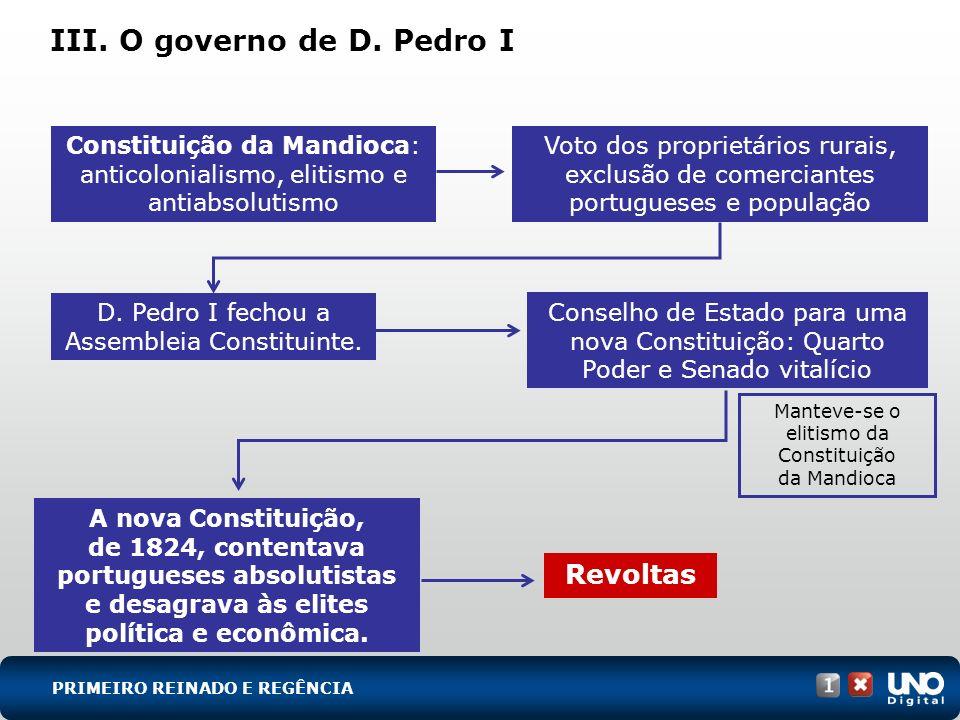 III. O governo de D. Pedro I