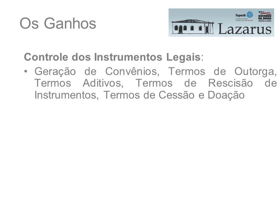 Os Ganhos Controle dos Instrumentos Legais: