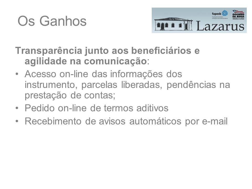 Os Ganhos Transparência junto aos beneficiários e agilidade na comunicação: