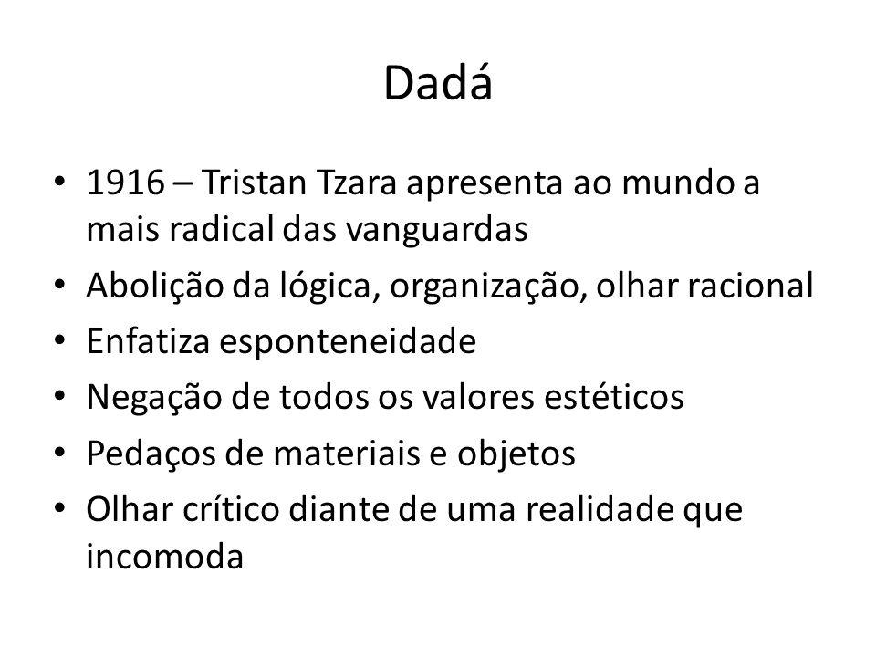 Dadá 1916 – Tristan Tzara apresenta ao mundo a mais radical das vanguardas. Abolição da lógica, organização, olhar racional.