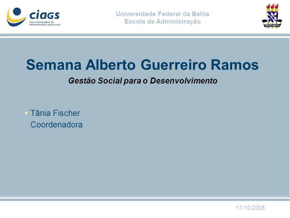 Semana Alberto Guerreiro Ramos Gestão Social para o Desenvolvimento