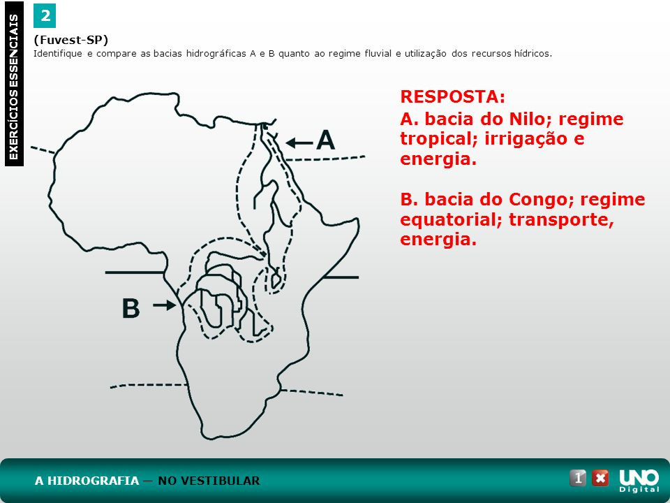 A. bacia do Nilo; regime tropical; irrigação e energia.