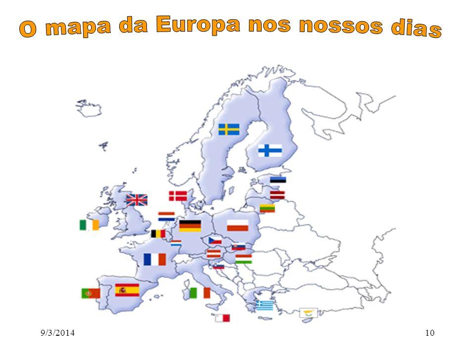 O mapa da Europa nos nossos dias