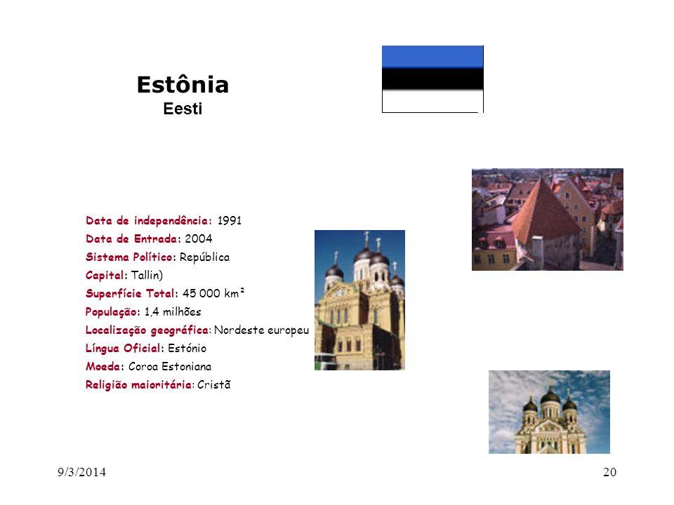 Estônia Eesti 26/03/2017 Data de independência: 1991