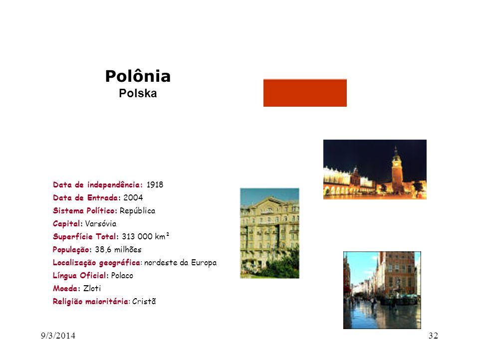 Polônia Polska 26/03/2017 Data de independência: 1918