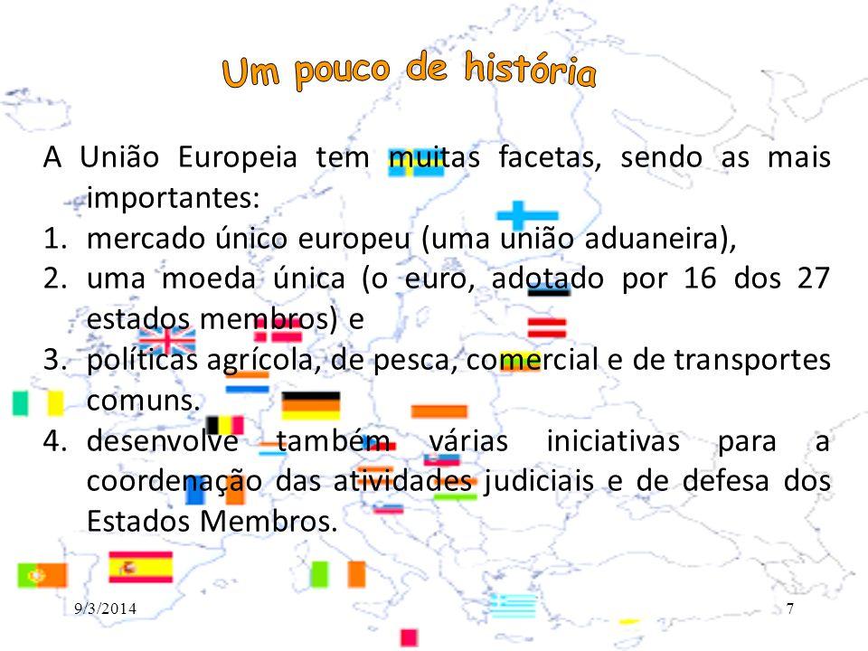 Um pouco de história A União Europeia tem muitas facetas, sendo as mais importantes: mercado único europeu (uma união aduaneira),