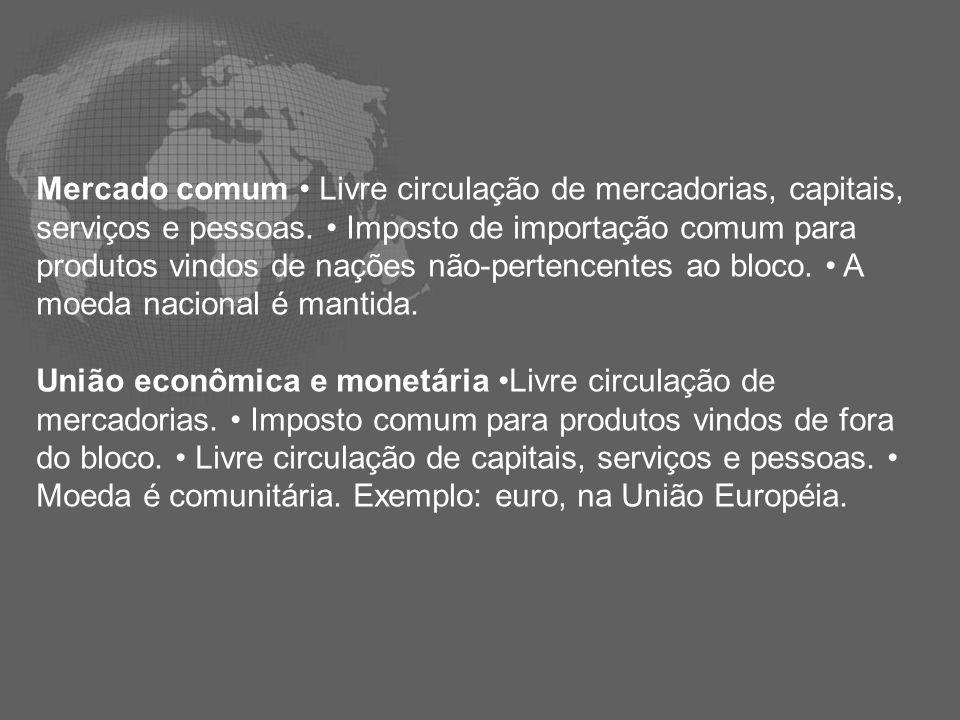 Mercado comum • Livre circulação de mercadorias, capitais, serviços e pessoas. • Imposto de importação comum para produtos vindos de nações não-pertencentes ao bloco. • A moeda nacional é mantida.