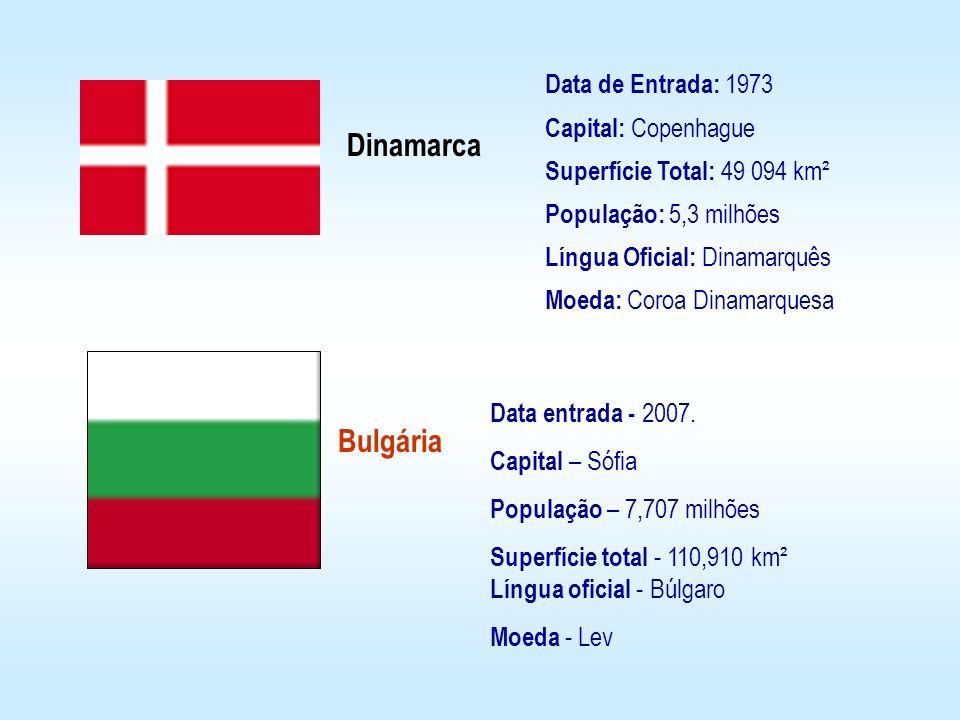 Data de Entrada: 1973 Capital: Copenhague Superfície Total: 49 094 km² População: 5,3 milhões Língua Oficial: Dinamarquês Moeda: Coroa Dinamarquesa